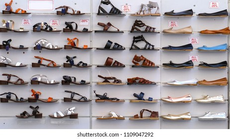 Shoes stand on a showcase