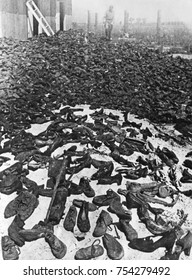 Shoes taken from Jews at Belzec, Sobibor, and Treblinka II killing centers stored at Lublin/Majdanek. In July 1944, the Russian Army liberated the concentration camp in July 1944 and found the store h