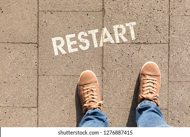 shoes with text restart