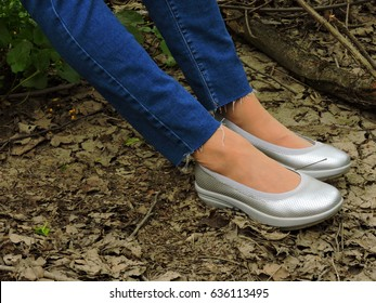 Shoes for a walk in the woods. Copy space.