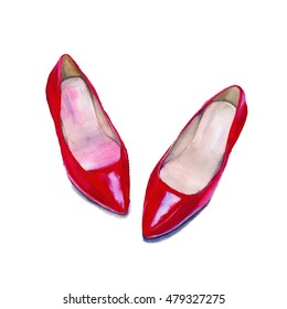 Shoes womens red. Shoes for women. Isolated on white background. Watercolor illustration.