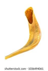 Shofar or Jewish Rams Horn Trumpet Isolated on White