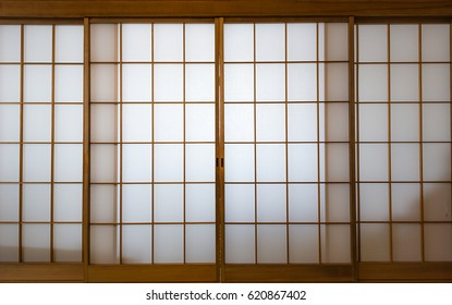 Shoji , Traditional Japanese door made of rise paper