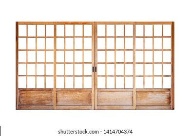 Shoji , Traditional Japanese door,window or room divider consisting isolated on white background