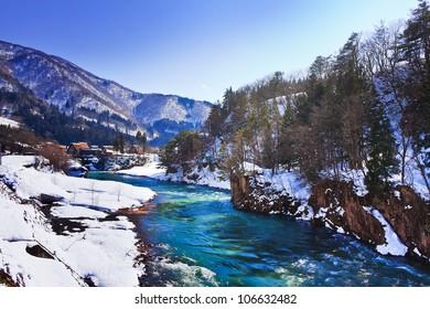 Shokawa river at Ogimachi Village in Shirakawago, a UNESCO World Heritage Site