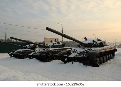 Sholokhovo, Mytishchi, Moscow region, Russia. December 4, 2016. Street exposition of the T-34 tank Museum