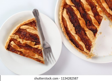 Shoofly Tart with Golden Syrup Filling. Isolated on white background.