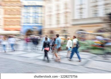 Shooper walking in the city