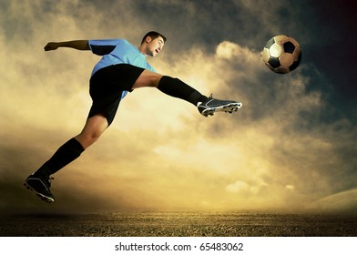 Shoot of football player on the outdoor field