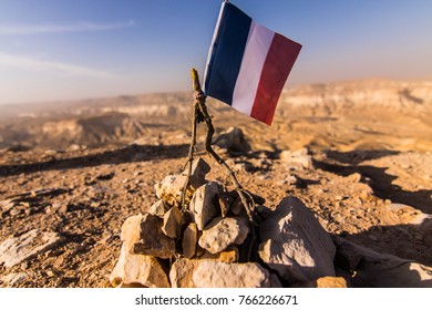 A shoot of a france flage found in a top of a ridge near to Sde Boker, taken in the Israel national trail.