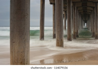 A shoot looking down underneath the Huntington Beach Pier on a cool fall morning. Fall Pier