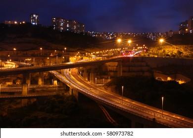A shoot of road bridge junction in Haifa, Israel