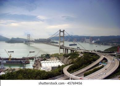 It is a shoot taken at Tsang Ma bridge at Hong Kong in morning.
