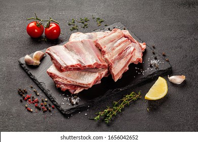 Shooting for the catalog. Raw meat products, different parts of the body. pork, beef, chicken. background image, copy space text