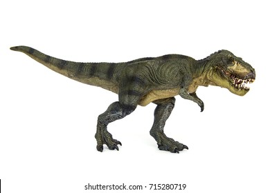 Shooting Hunt and Roaring of Tyrannosaurus(T-rex) Dinosaur isolated on white background.