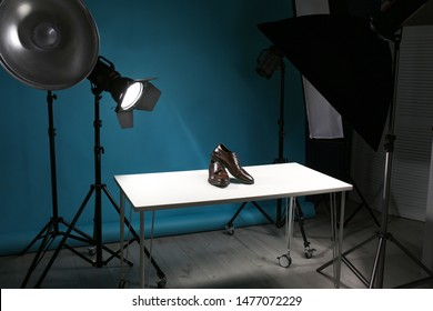 Shooting of men's shoes for product promotion in photo studio