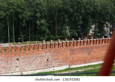 shooting of the old fortress wall, a protective structure made of brick used as a Museum, a historical landmark panoramic view of the fortification site from a height