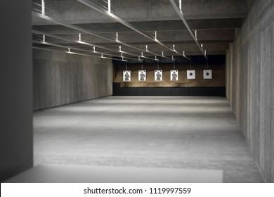 Shooting range. Shields at the shooting range