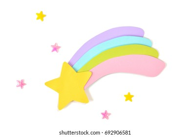 Shooting star paper cut on white background - isolated