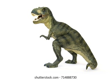 Shooting Tyrannosaurus(T-rex) Dinosaur isolated on white background.