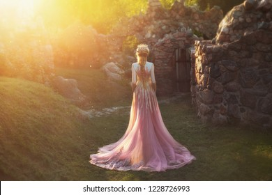 Shooting without a face, from the back. Wonderful princess with blond hair and a crown. is wearing an amazing light pink dress with gold ornaments and a long train. Queen walks in the garden in the