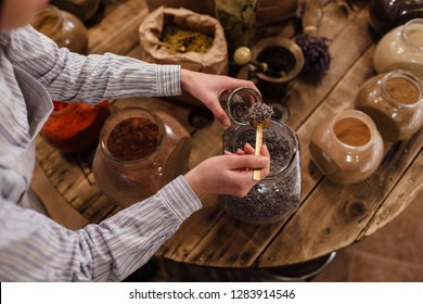 Shop assistant scooping dried herbs at table with spices in packaging free shop. Shopkeeper putting lavender flower buds into glass jar at package free grocery store.
