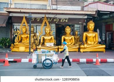 a shop with Buddha statues on the Siri Phong Road in Banglamphu in the city of Bangkok in Thailand in Southeastasia.  Thailand, Bangkok, November, 2018