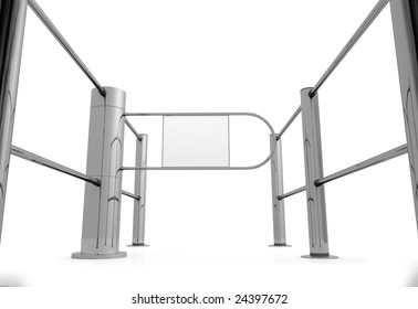 Shop entrance on white background with white area on the door to write or draw onto whatever you want (enter, stop, one way, sale, ...)
