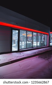 Shop at a gas station on a winter night