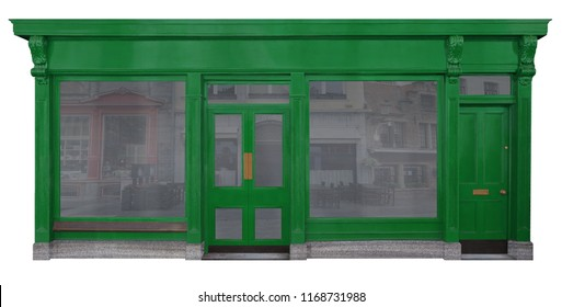 Shop with green entrance in wood two shop windows and a separate entrance door isolated on white background