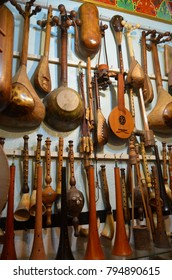 Shop of handmade musical instruments in Marrakech, Morocco.