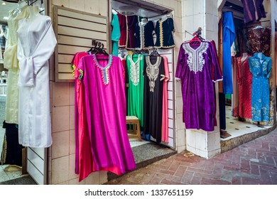 Shop of Moroccan dresses in the medina of Tangier, Morocco