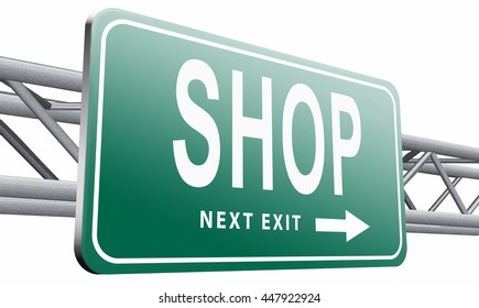 Shop now sign go to the online webshop road sign, internet web shopping billboard, 3D illustration, isolated on white background