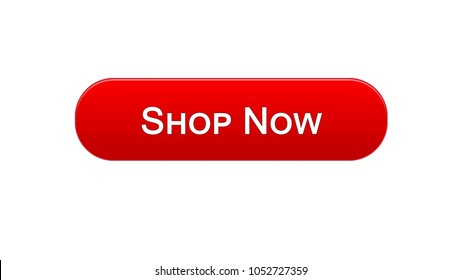 Shop now web interface button red color, online shopping service, advertisement