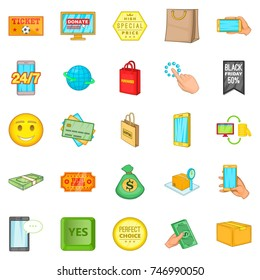 Shop online icons set. Cartoon set of 25 shop online  icons for web isolated on white background