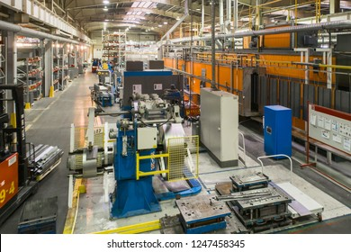 Shop for the production of metal profiles. View from the top point. Industrial interior.