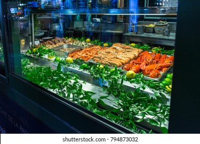 Shop with seafood, crayfish, lobster and shrimp