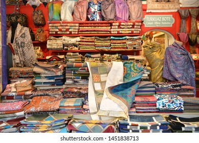 Shop selling historical patterned items. July 14, 2019 in Istanbul Turkey