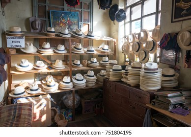 Shop selling Panama hats in Cuenca, Ecuador