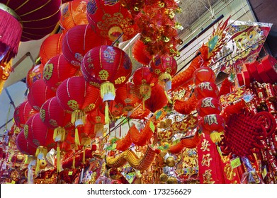 Shop selling traditional decoration stuffs for Chinese New Year in Hong Kong