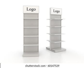 shop shelves with lightboxes