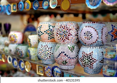 Shop stands with traditional Turkish souvenirs