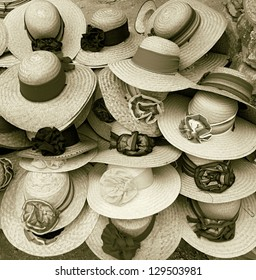Shop of the straw hats, Mexico (stylized retro)