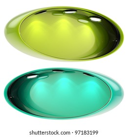 Shop window copyspace oval green and sea blue showcase with backlight illumination, set of two isolated on white