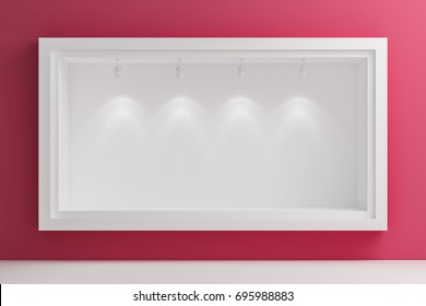 Shop window display, Empty storefront, Showcase on the street, Pastel Pink mock up 3D render