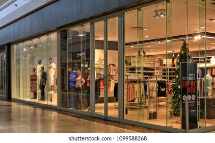 b10a2e577 Shop window. Fashion storefront in a large shopping mall. Guess. Global  lifestyle brand