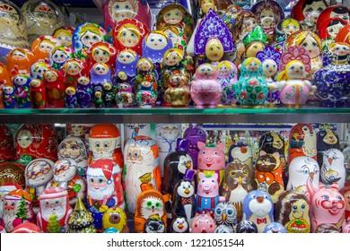 Shop Window Full of Decorative Russian Dolls