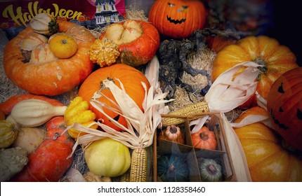 Shop window with halloween pumpkins