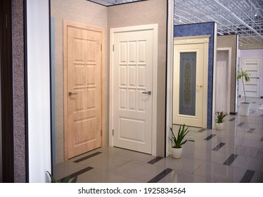 shop window of interroom doors. a large selection of interior doors for the house. home renovation concept.