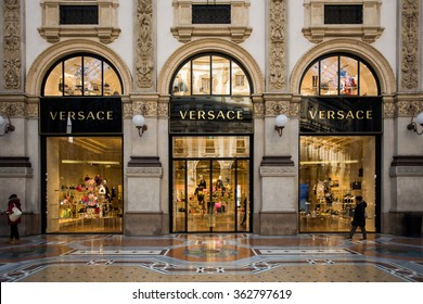 Shop windows of the Versace luxury boutique store in Milan on January 15, 2016.  Versace is an Italian fashion company and trade name founded by Gianni Versace in 1978.